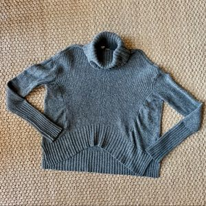 MOTH Gray Boxy Chunky Knit Turtle Neck Sweater